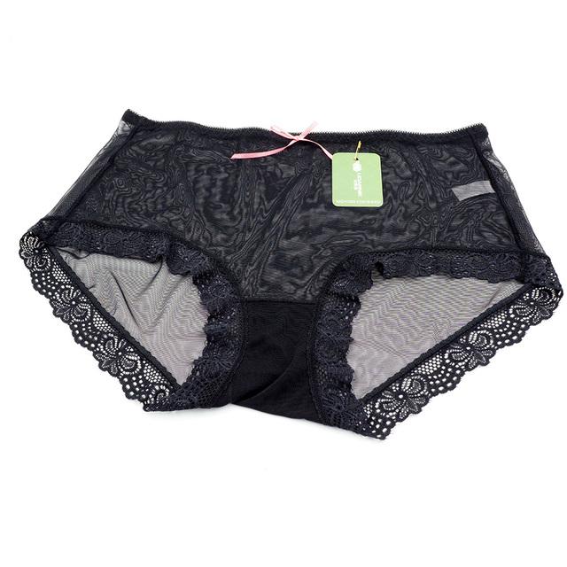 3Pcs Womens Plus Size Sheer Knickers Briefs Underpants Transparent Lace Panties Nylon Mesh Multi Color 204-664