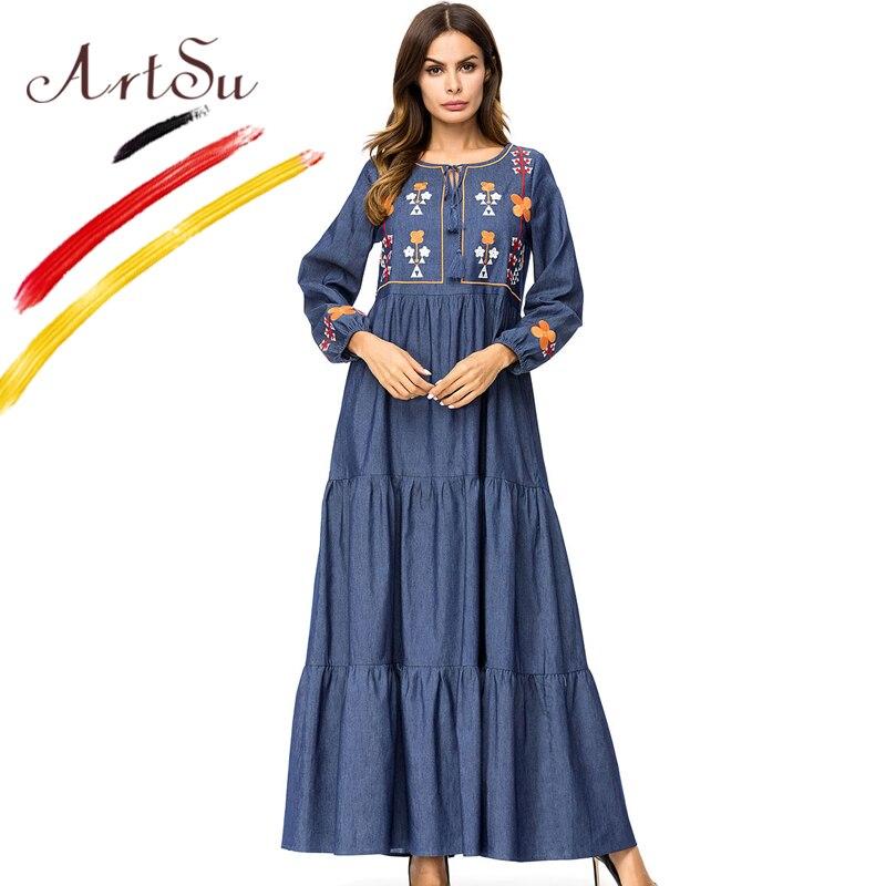 5cd3767d9f ArtSu Women Vintage Tie Neck Tassel Winter Ethnic Dress Long Sleeve  Vestidos Femme Floral Embroidery Casual