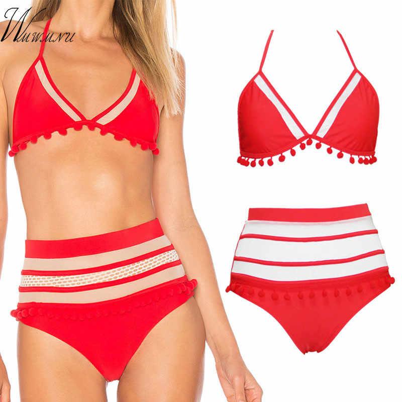Baru Wanita Tinggi Pinggang Push-Up Bikini Set Empuk Rumbai Bola Baju Renang Wanita Bergaris Baju Brasil Biquini Pantai Baju Renang