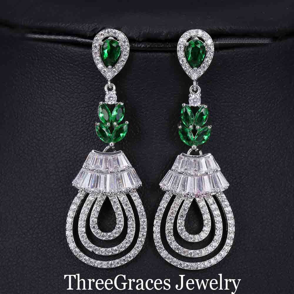 Vintage Women Hollow Out Design White Gold Plated Emerald Green Zirconia Long  Dangle Earrings With CZ Diamond Paved ER147-in Drop Earrings from Jewelry  ... 6150a2eb66