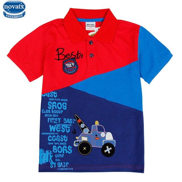 Novatx c6265 2017 дизайн одежды летние мальчики с коротким рукавом футболки лоскутное с автомобиль изображение футболки для детей горячий продавать