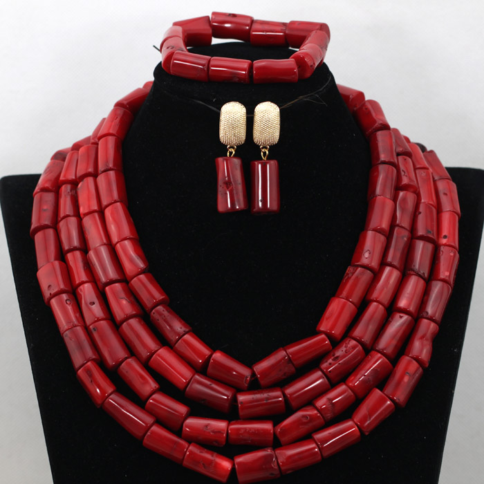 Wonderful Red Nigerian African Wedding Coral Beads Jewelry Set Handmade Indian Women Bridal Engagement Jewelry Party Set QW697