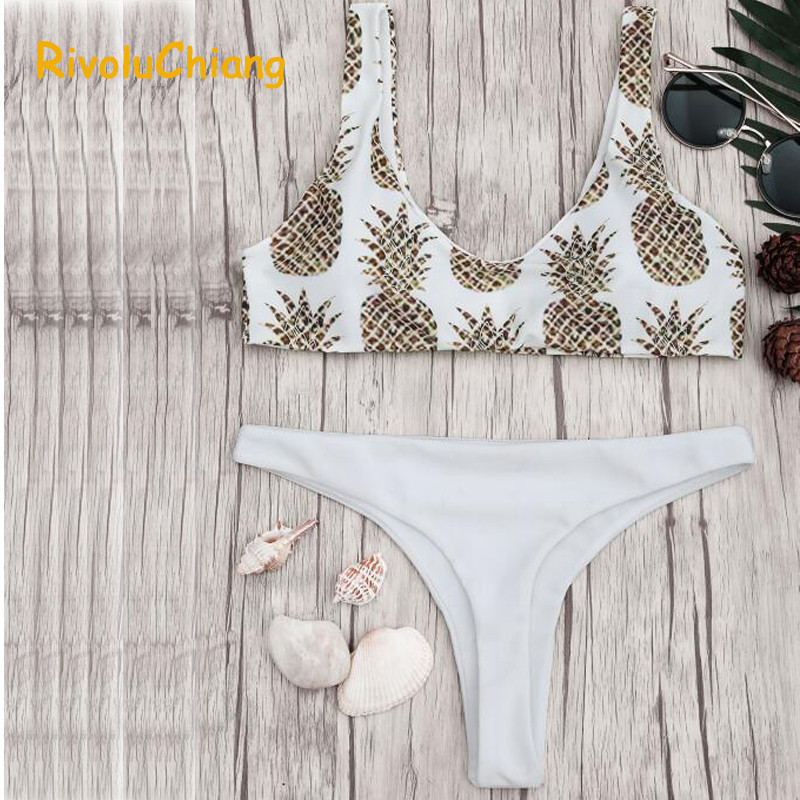 цена на Bikinis Women 2017 Leaf Print Women Two Piece White Bottom Swimwear Maillot De Bain Girls Swimwear Bikini Mujer Verano Swimsuit