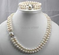 LHX54016>>Luxury 2 Row Cultured pearls Necklace Bracelet Set 7-8MM 17