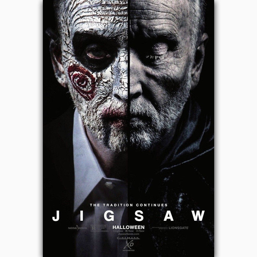 US $5 89 |MQ687 Jigsaw 2017 Horror Classic Movie Film Cover Hot New Art  Poster Top Silk Light Canvas Home Decor Wall Picture Printings-in Painting  &