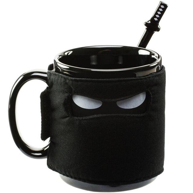 1 шт. Assassinate кофеин тяга кружка с изображением ниндзя черная маска керамическая кружка с ложкой меч и шурикен Coaster