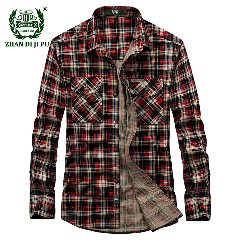 2018 Europe Men's Autumn Casual Brand High Quality 100% Cotton Green Plaid Shirt Man Spring Afs Jeep Red Grid Long Sleeve Shirts
