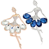 Hot! Women Luxury Dancing Girl Rhinestone Jewelry Sweater Dress Brooch Pin Breastpin