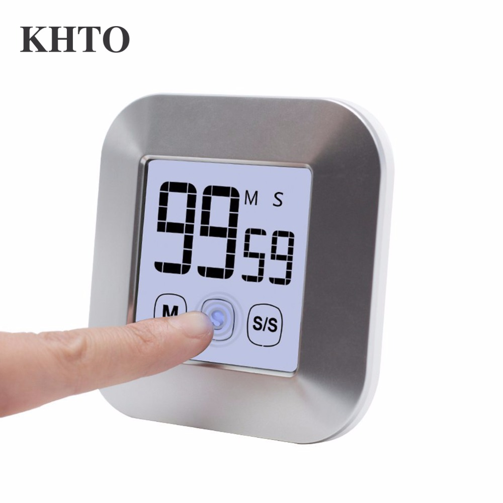 KHTO Touchscreen LCD Digital Kitchen Timer Practical Cooking Timer Countdown Count UP Alarm Clock Kitchen (Not Battery)