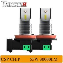 TXVSO8 2PCS H11 LED Car Headlight Bulbs with CSP Chips-12V 30000LM Pair 6000K led auto light Bulb 55W Bulb Automobiles Headlamp p6 philips chips 55w 4500lm led car headlight car headbulb