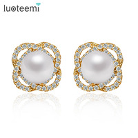 Teemi 2015 Wholesale New High Quality Jewelry 18K Champagne Gold Plated Crystal Cubic Zirconia Pearl Flower
