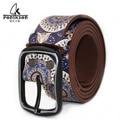 2016 Unisex Bohemia style flower paint belt vintage handmade genuine leather belt strap Retro Buckle Belt for jeans