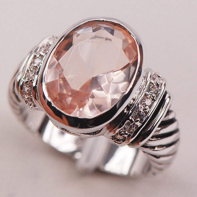 Morganite Fashion 925 Sterling Silver Woman Ring Size 6 7 8 9 10 F635 Fashion Wholesale Jewelry Free Shipping