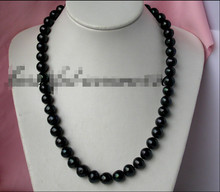 "z1854 24"" 14mm round Tahitian black freshwater pearl necklace 925silver (A0322)(China)"