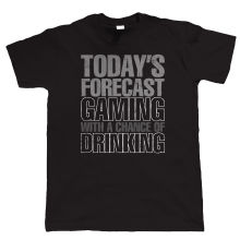 Designer T Shirts Tall Gaming With A Chance Of Drinking Funny Video Game O-Neck Short-Sleeve Mens T Shirt