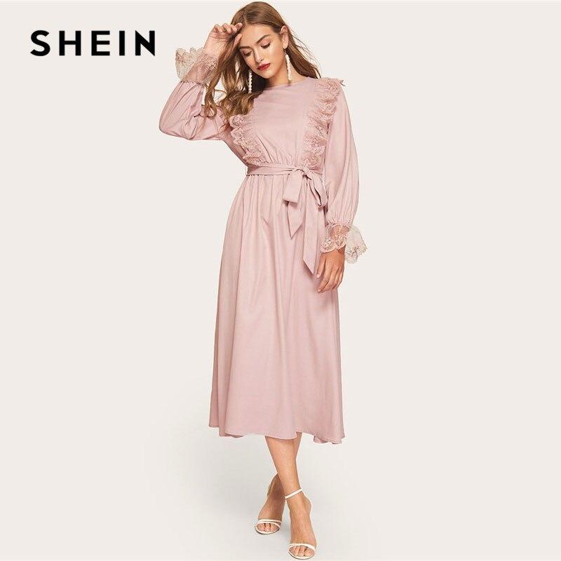 SHEIN/розовое скромное вышитое Сетчатое платье макси с оборками и поясом, женское весеннее элегантное платье с завышенной талией, рукав-Волан