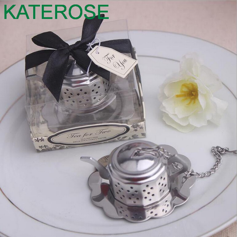 24PCS Wedding reception favors of Teapot Tea Infuser Bridal Fhower Favors For Wedding Souvenirs and Party Gift