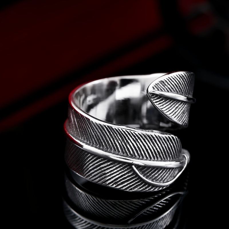Women Rings Couples Plume Ring Men Personality Jewelry Titanium Steel Open High Quality Vintage Wedding Rings For Women BR8-369