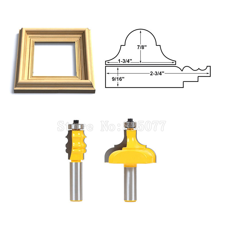 2Pcs 1 2 quot Shank Line Knife Picture Frame Router Bits Complete Set Woodworking Cutter Tenon Cutter Tools JF1482 in Milling Cutter from Tools
