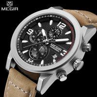 MEGIR Men S Casual Watch Chronograph Luminous Engraved Dial Genuine Leather Auto Date Watch Male Glow