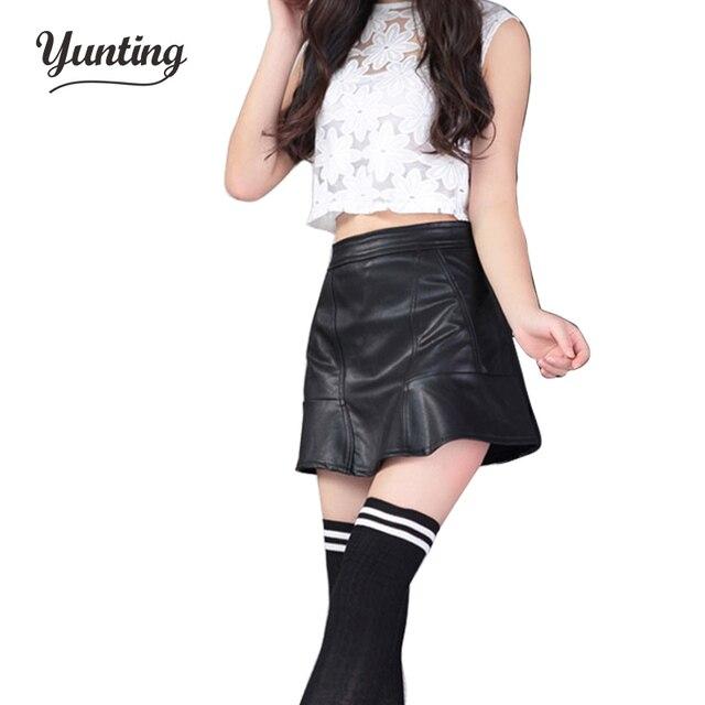 Nuevo 2018 de Corea moda negro rojo pu cuero falda mujeres vintage alta  cintura plisada Falda 9ebd9fe1a9bc