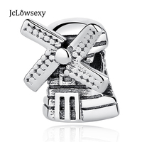 100% 925 Sterling Silver Bead Large Wind Turbines House Charms Beads Fit Bracelets & Bangles Necklace Jewelry