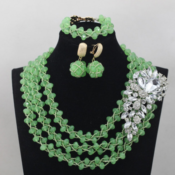 Fashion New Mint Green Crystal Beaded African Nigerian Jewelry Set Fashion Party Events Jewelry Set Gift Free ShippingABL912