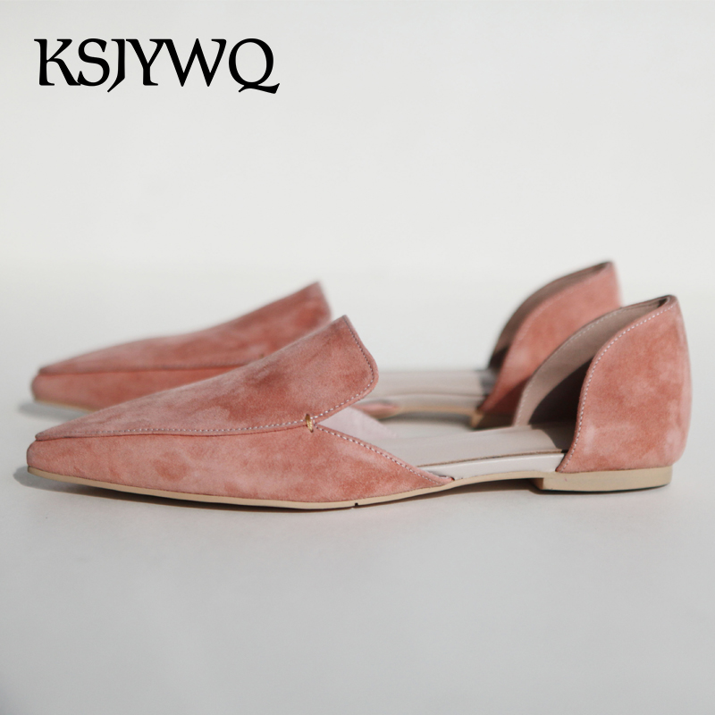 KSJYWQ 2018 Women's Genuine Leather Flat Sandals Sexy Ladies Slip-on Pink Flats Pointed-toe Summer Dress Shoes Box Packing D-821 2017 new fashion women summer flats pointed toe pink ladies slip on sandals ballet flats retro shoes leather high quality
