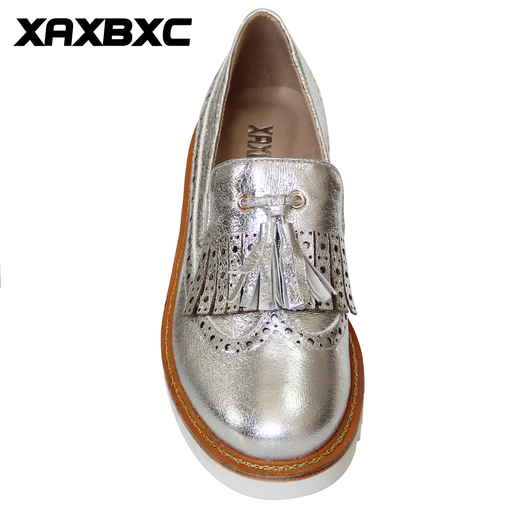 Xaxbxc Absätzen Silber Silver Keile Plattform Niedrigen H0397k11382 Mujer 2018 Casual Herbst Frühling Kappe Frauen Schuhe Pumpen Damen Leder Runde Handgemachte 4q4Yzw