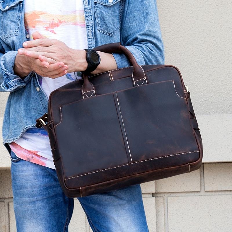 Men/'s Vintage Genuine Leather Briefcase Messenger Shoulder Bag Handbag Business