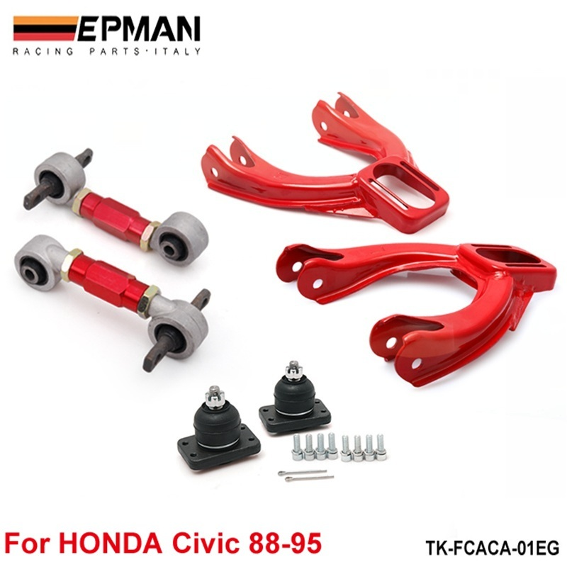 RED FRONT REAR UPPER LOWER CONTROL ARM CAMBER SUSPENSION KIT CIVIC 92-95 EG EJ