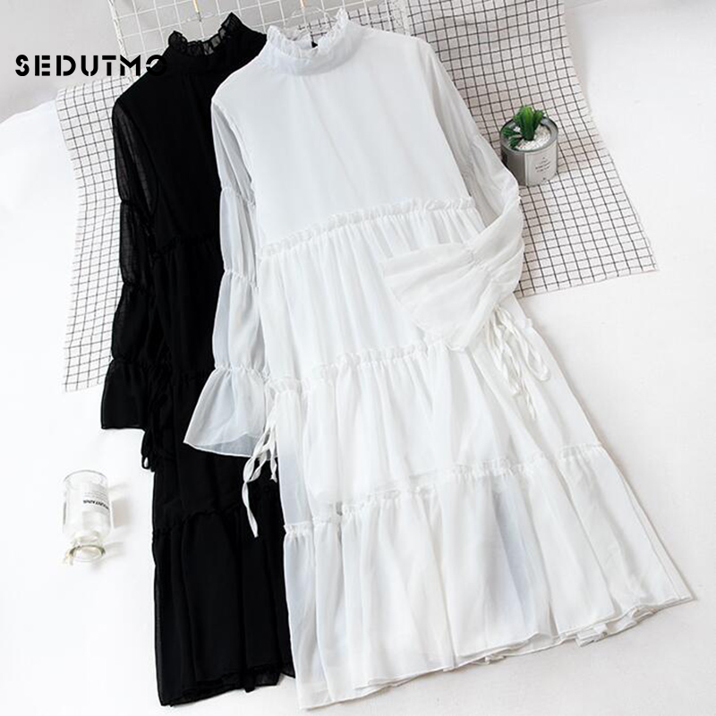 8665108945a SEDUTMO Summer Chiffon Dress Women Vintage Sexy Basic Dresses Long Sleeve  Turtleneck Slim Beach Party Dress