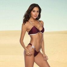 цена на Tanga Bikini With Spaghetti Strap Backless Halter Solid Bathing Suit Push Up Brazilian Bikini 2019 Low Waist Swimsuit Women