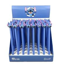 цены 40pcs/pack 0.5mm Creative Black Ink Gel Pen Promotion Gift Unisex Pen Lovely Cute Cartoon Stitch