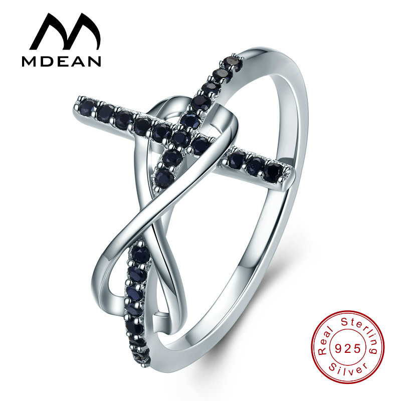MDEAN 925 Sterling Silver Jewelry Wedding Rings for Women Black AAA Zircon Engagement Bague Size 6 7 8 9 10 11 12 MSR569