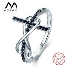 Mdean стерлингового серебра 925 обручальные кольца для женщин черный aaa циркон Обручальное Bague Размер 6 7 8 9 10 11 12 MSR569