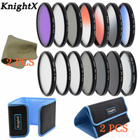 KnightX 14 filter FLD UV CPL ND ND2 ND4 ND8 lens dish cloth for Sony Canon Nikon d70 d90 100d d750 EOS 49 52 55 58 62 67 72 77