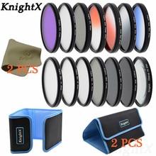 KnightX 14 filtre FLD UV CPL ND ND2 ND4 ND8 lens bulaşık bezi Sony Canon Nikon d70 d90 100d d750 EOS 49 52 55 58 62 67 72 77