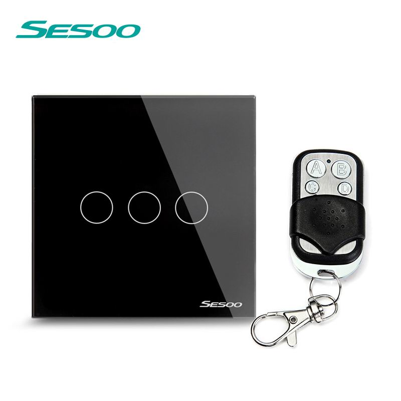 SESOO EU/UK Touch Switch LED Wall Light Switch 110-240V 3 Gang 1 Way Waterproof Crystal Tempered Glass Panels black smart home us au wall touch switch white crystal glass panel 1 gang 1 way power light wall touch switch used for led waterproof