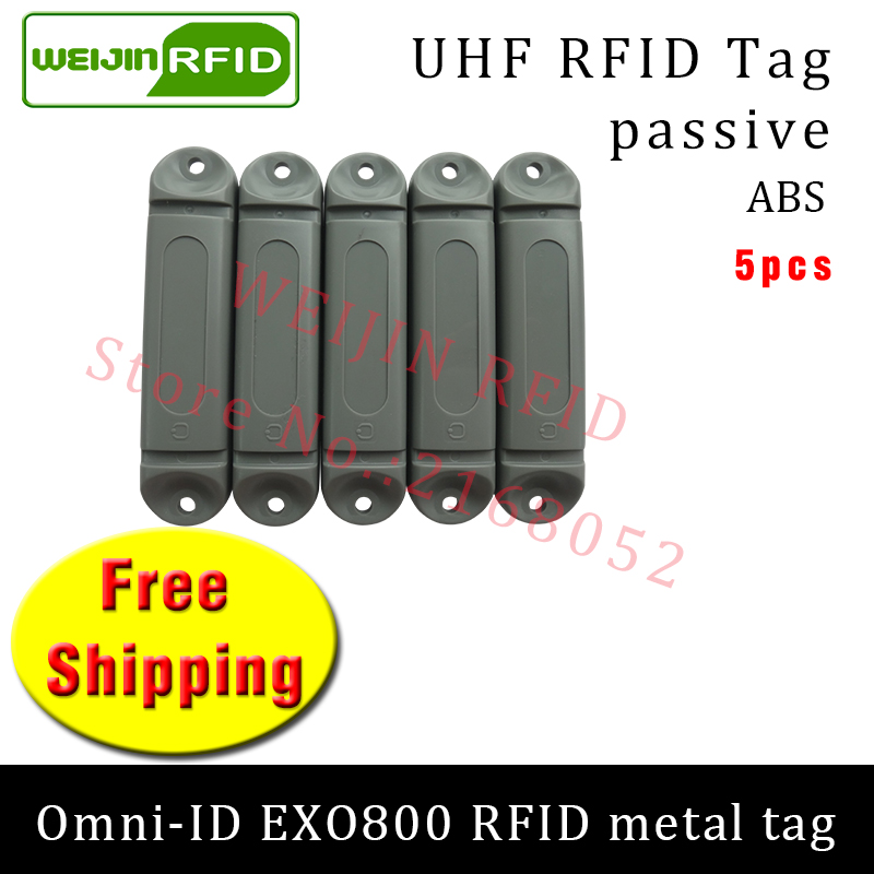 UHF RFID metal tag omni-ID EXO800 915mhz 868mhz Impinj Monza4QT EPC 5pcs free shipping durable ABS smart card passive RFID tags