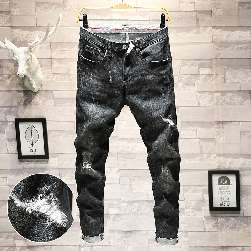 2018 Summer New Mens Fashion Personality Simple Thin Section Hole Hair Edge Small Feet Stretch Casual Nine Pants Youth Tide