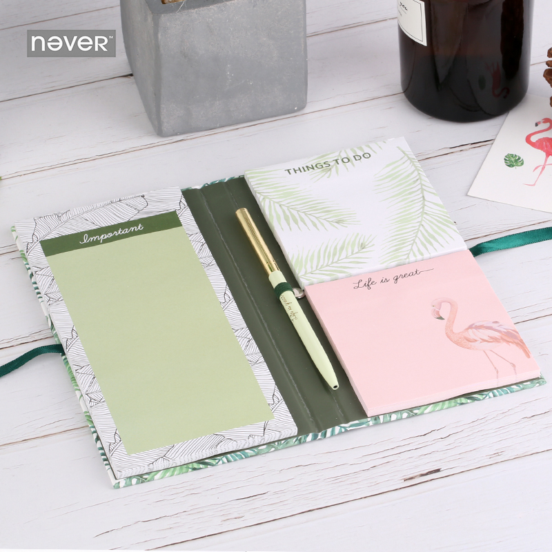 NEVER Plants series sticky notes sets notepad memo pad Flamingo Ball pen Stationery kits fashion office and school supplies 2018 pet transparent sticky notes and memo pad self adhesiv memo pad colored post sticker papelaria office school supplies