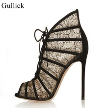 Gullick Brand Sexy Black Mesh Vamp Style High Heel Pumps Peep Toe Lace-up Cut-out Gladiator Sandals Boots Women Thin Heels Shoes