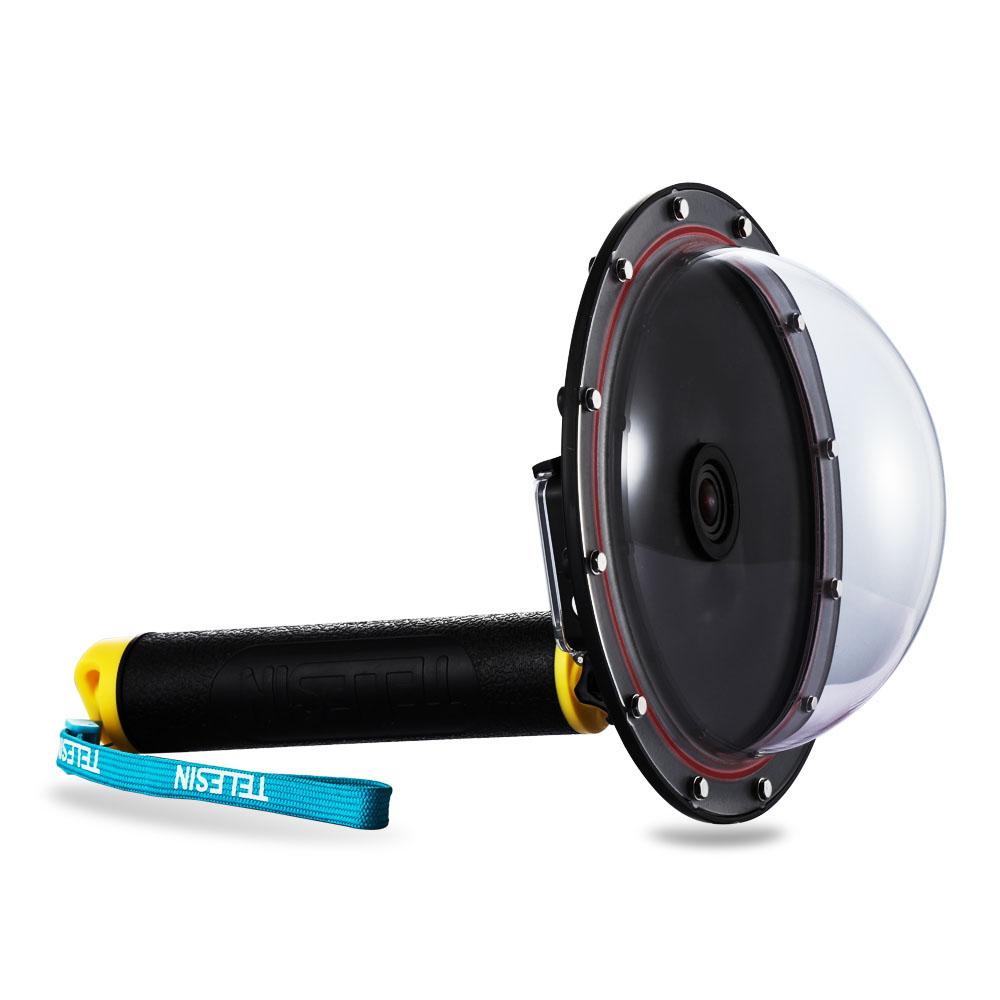 Prix pour Mise à niveau en alliage d'aluminium de pointe dôme port accessoire étanche avec floaty grip pour gopro hero 4/3 +/3 plongée caméra