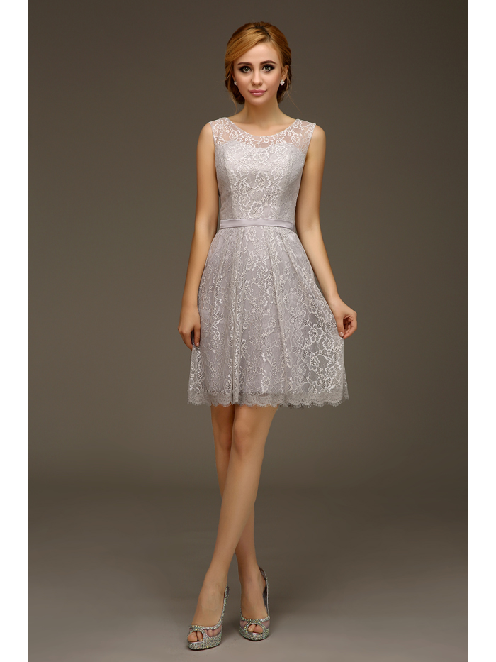 2016 summer new casual short silver gray lace knee length for Summer dresses for wedding party