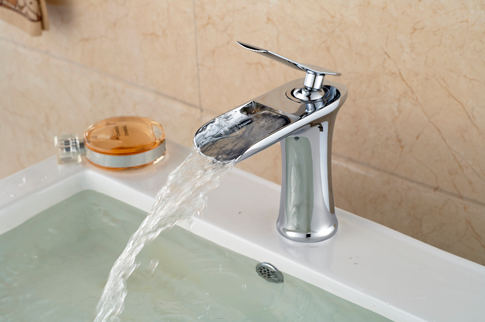 Tall Bathroom Vessel Sink Faucet Single Lever Waterfall: New Chrome Finish Waterfall Basin Faucet Single Handle