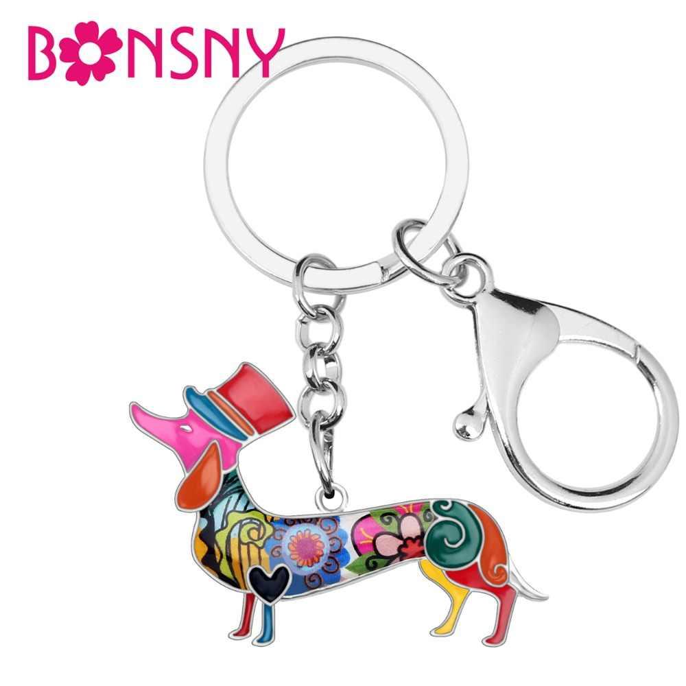 Bonsny liga de metal elegante chapéu dachshund cão chaveiros chaveiro esmalte pingente jóias para mulheres meninas saco carro encantos