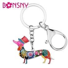 Bonsny металлический сплав элегантная шляпа такса собака брелки