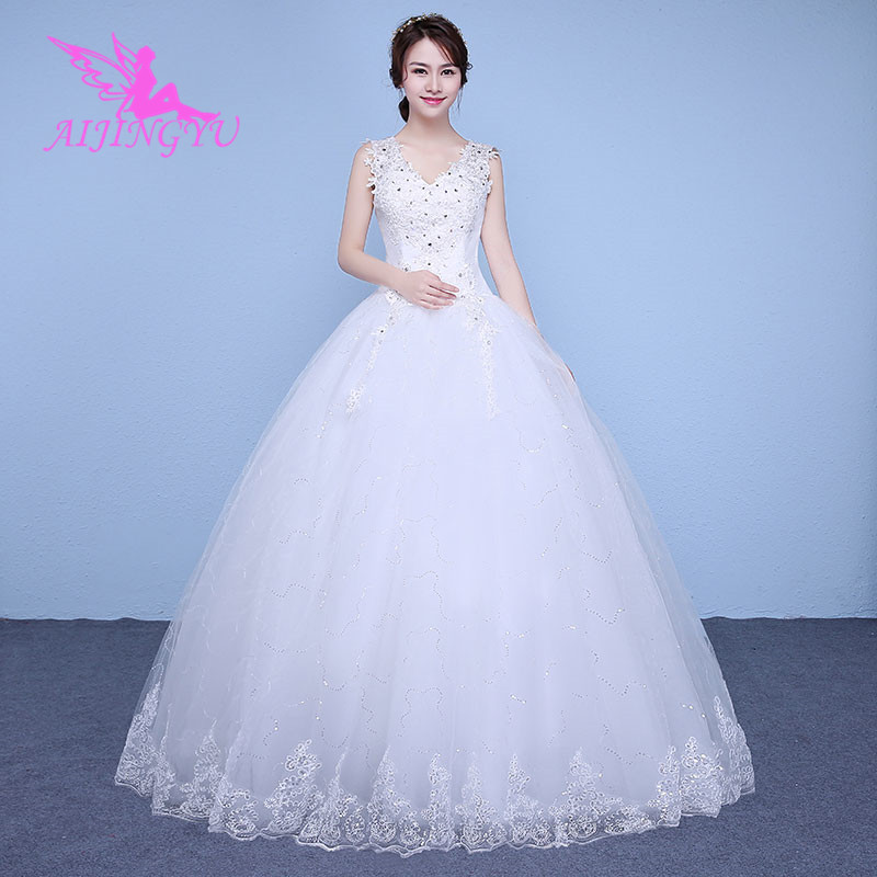 AIJINGYU 2018 V-neck Free Shipping New Hot Selling Cheap Ball Gown Lace Up Back Formal Bride Dresses Wedding Dress WK344