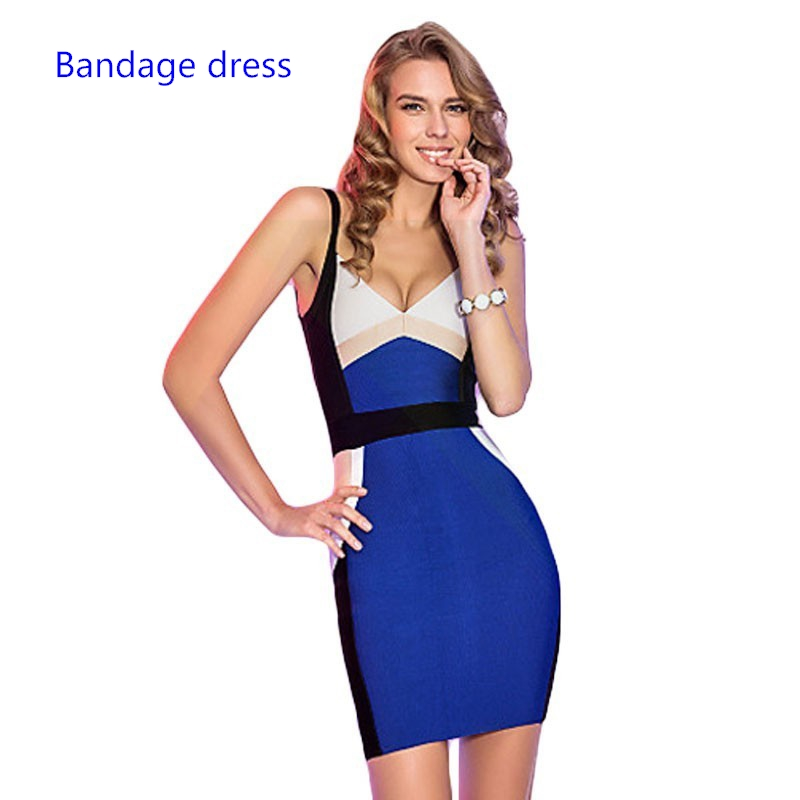 2017 Sexy women patchwork Blue Color Block Spaghetti Strap Knitted Sexy Women Bodycon open back Bandage Dresses LB-M317 brief spaghetti strap open back tank top for women